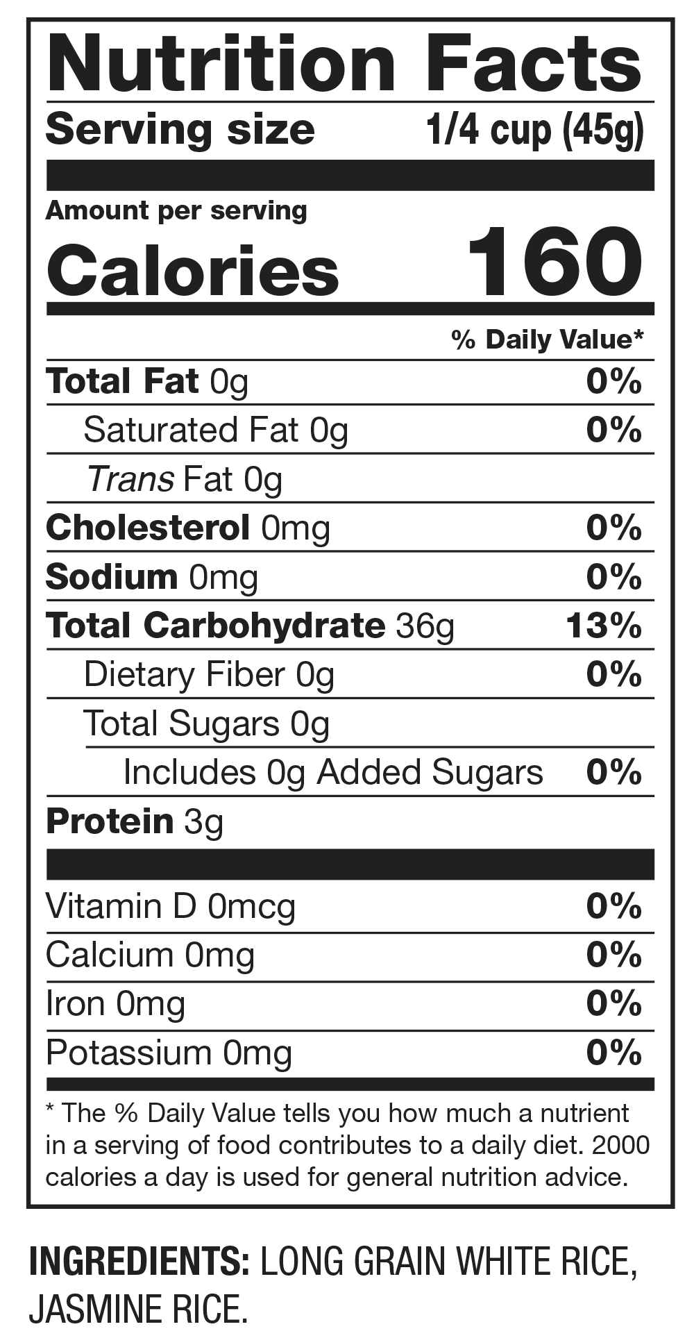 Nutrition Facts Authentic Grains for Fried Rice: Long Grain & Jasmine Rice