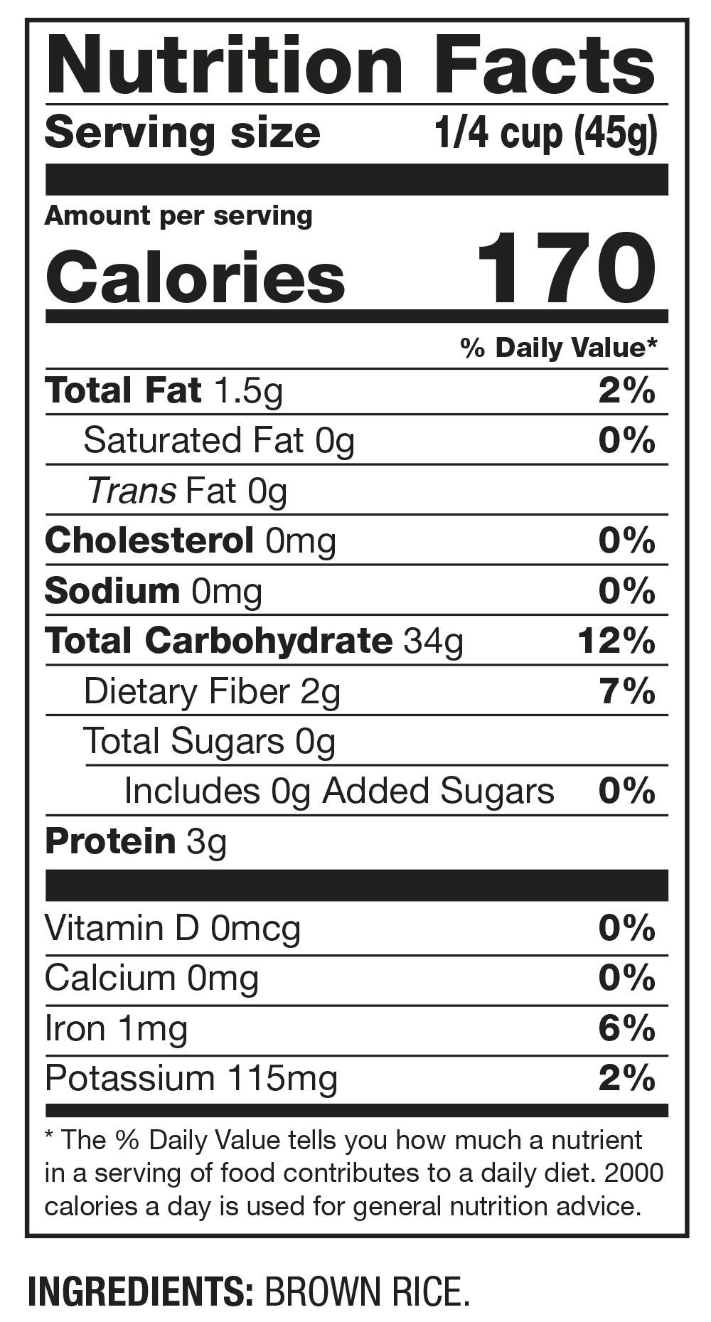 Nutrition Facts Whole Grain Brown Rice