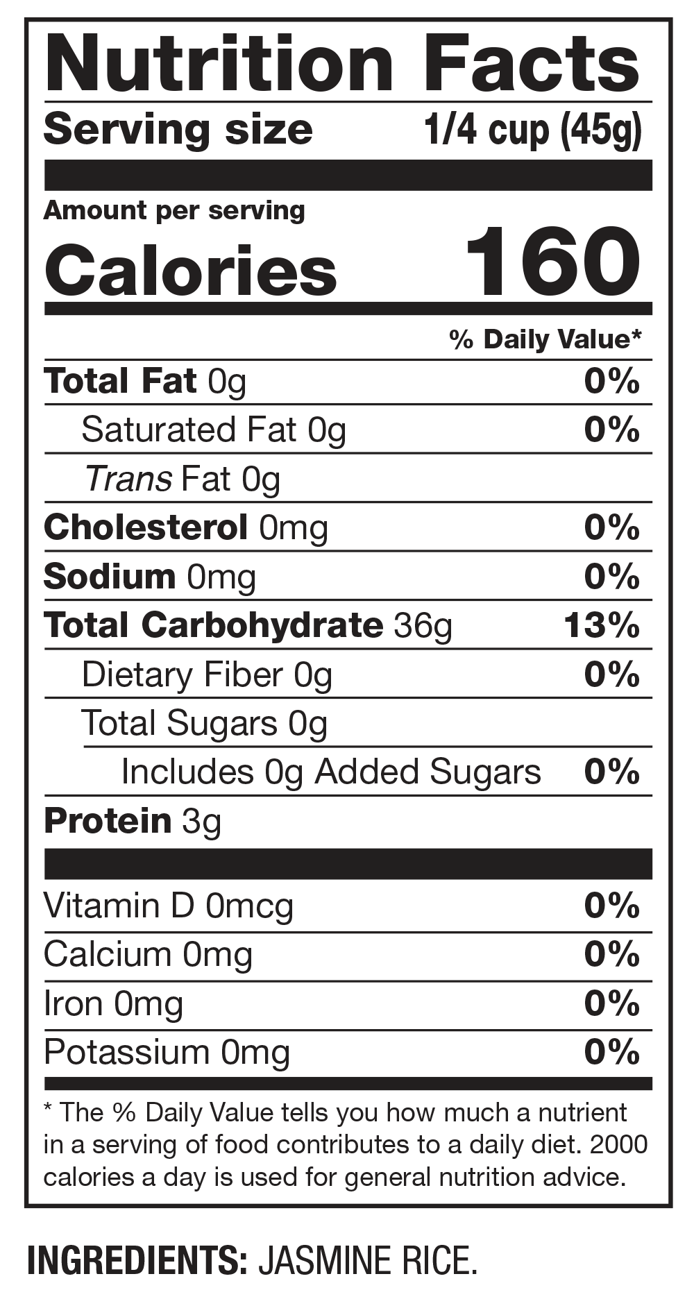 Nutrition Facts Jasmine White Rice