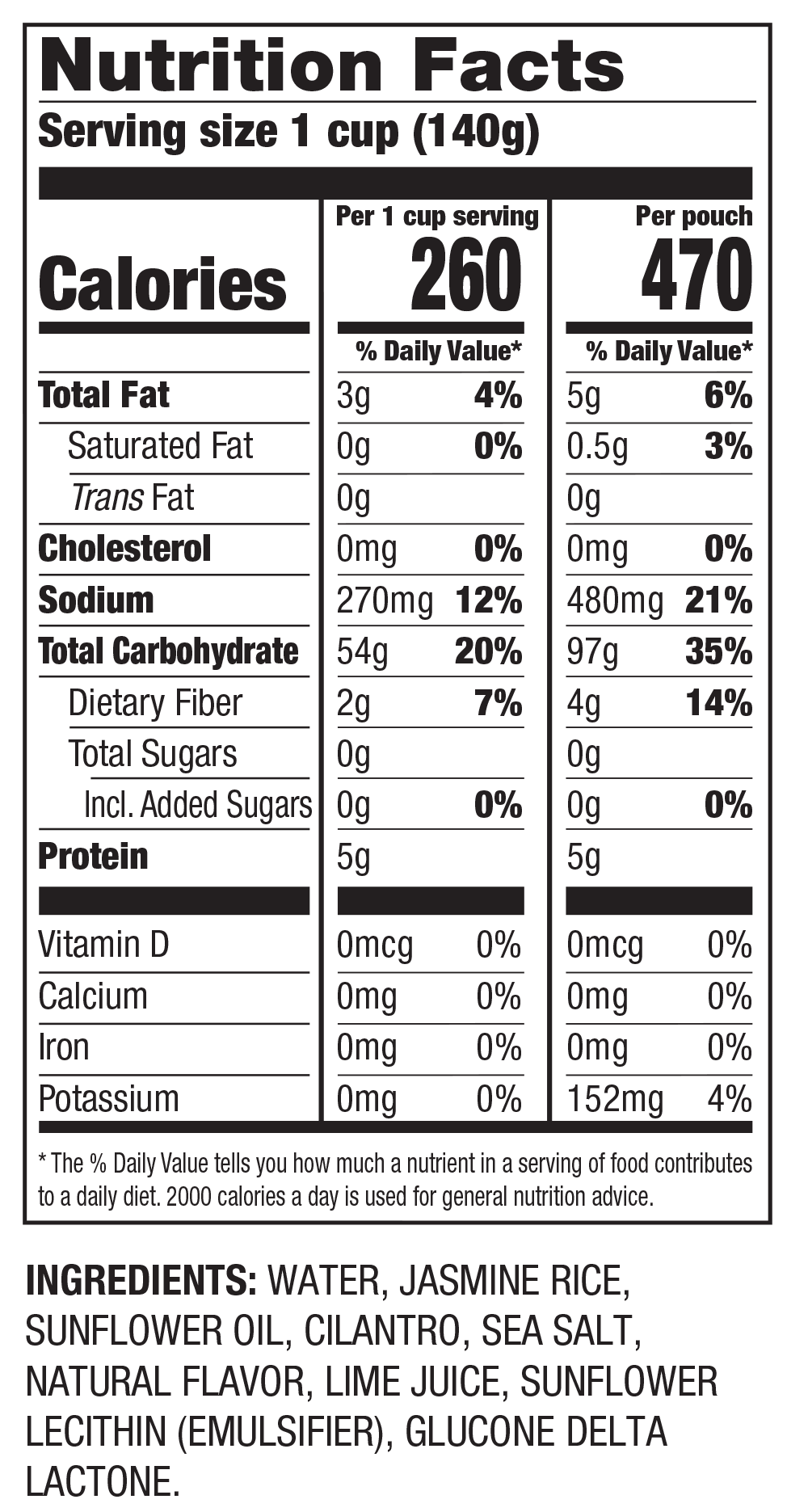 Nutrition Facts Ready to Serve Cilantro Limón Jasmine Rice