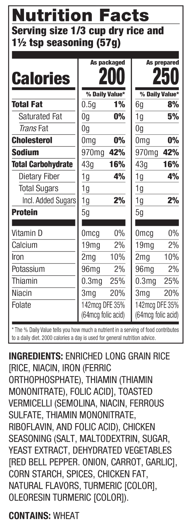 Nutrition Facts Arroz con sabor a Pollo