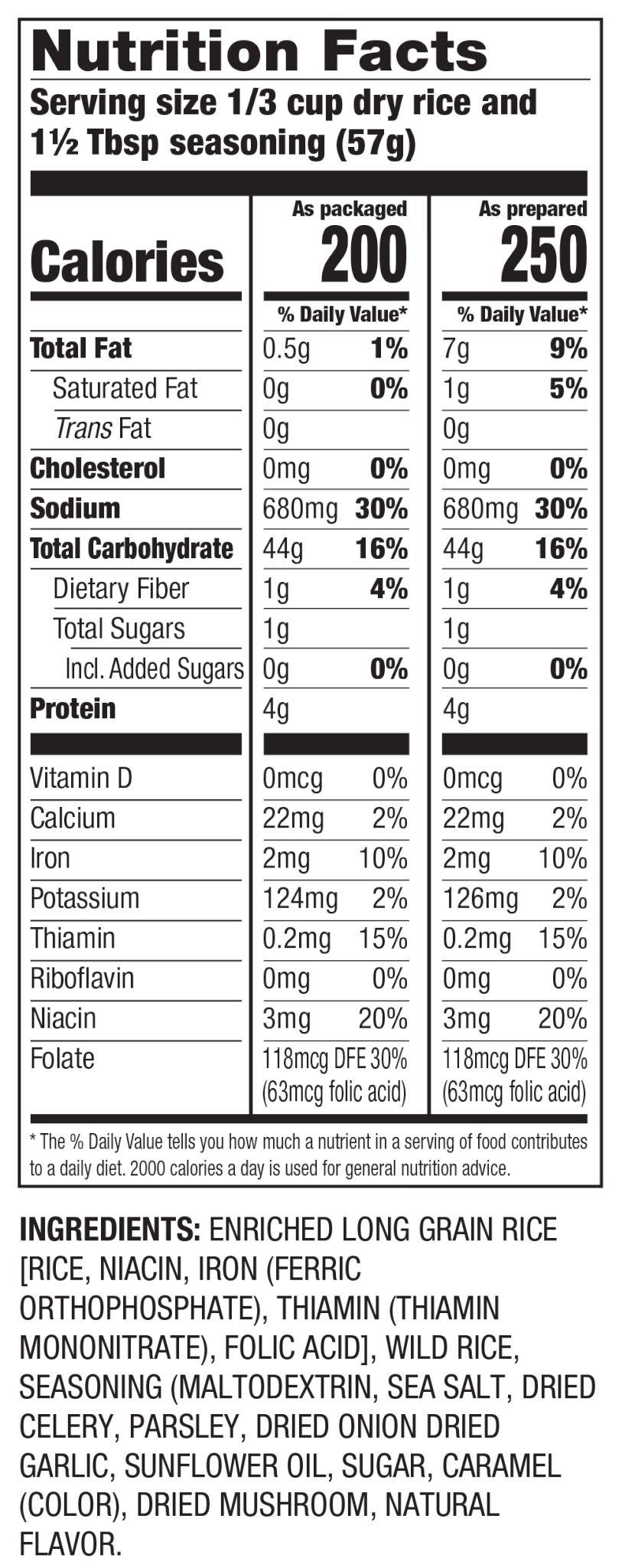 Nutrition Facts Long Grain & Wild Seasoned Rice