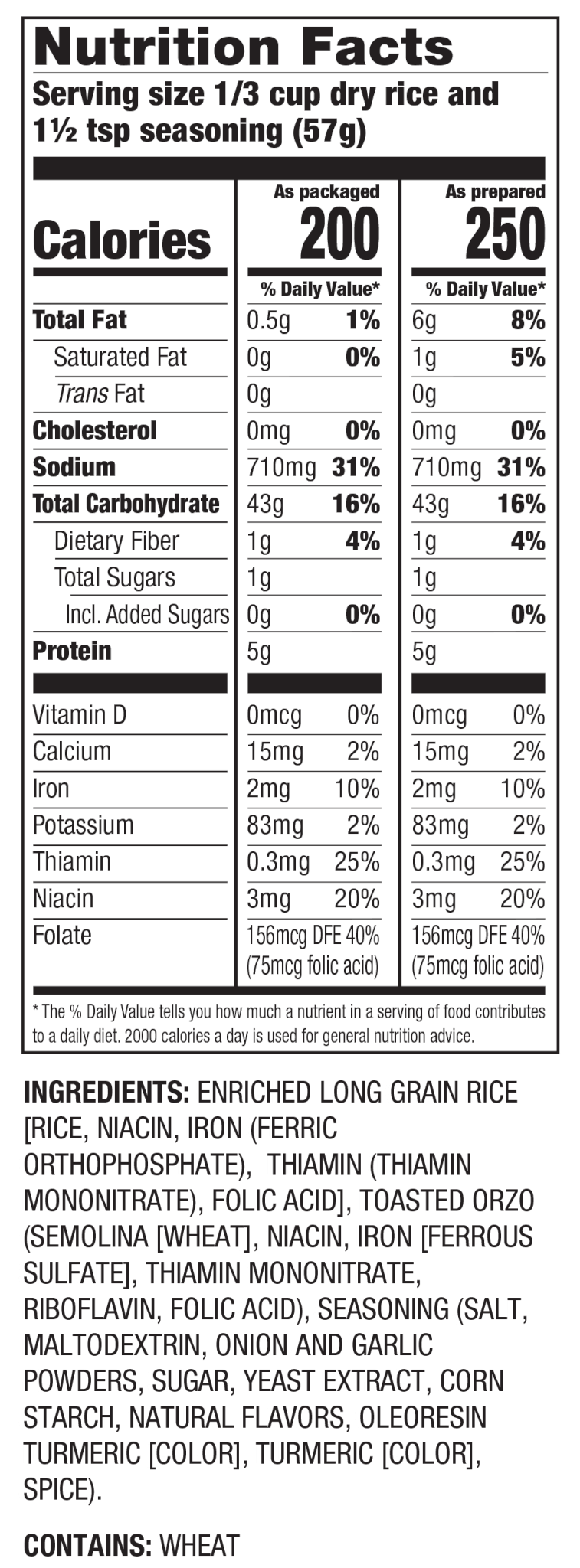 Nutrition Facts Pilaf Seasoned Rice Mix