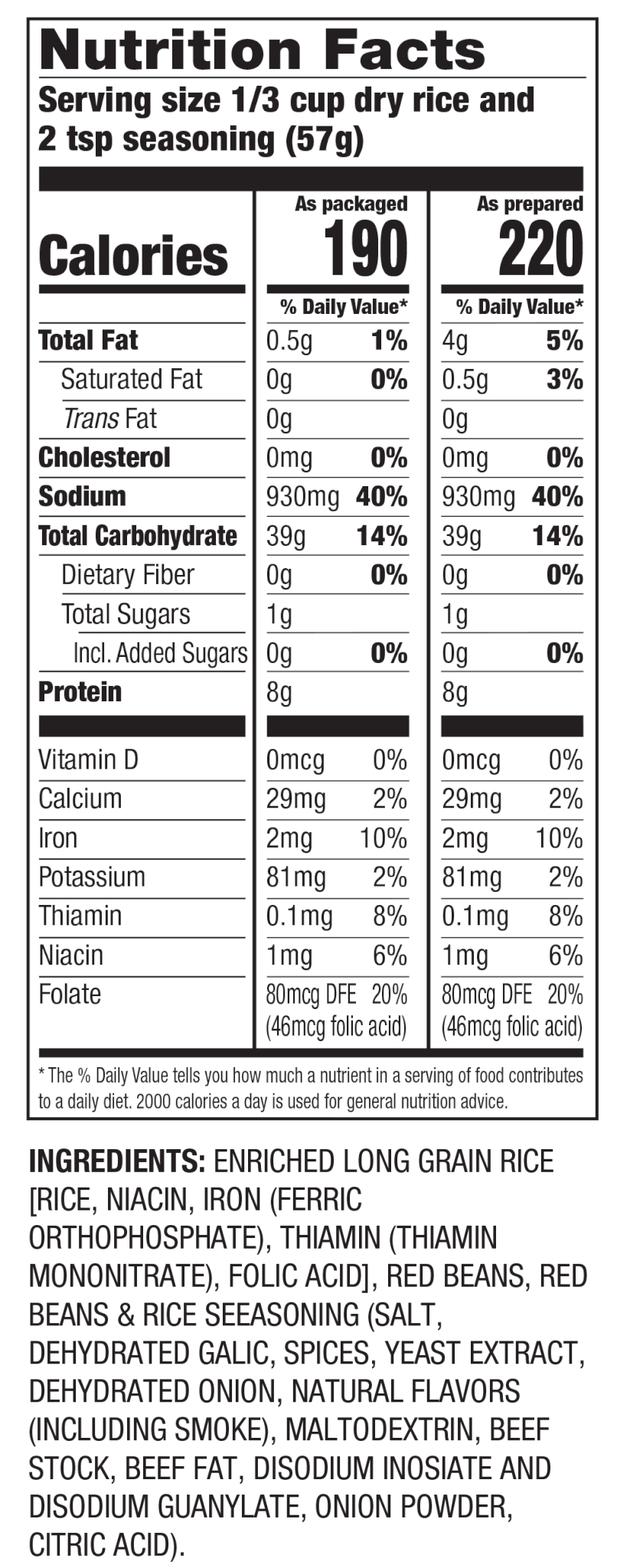 Nutrition Facts Arroz con Frijoles Rojos