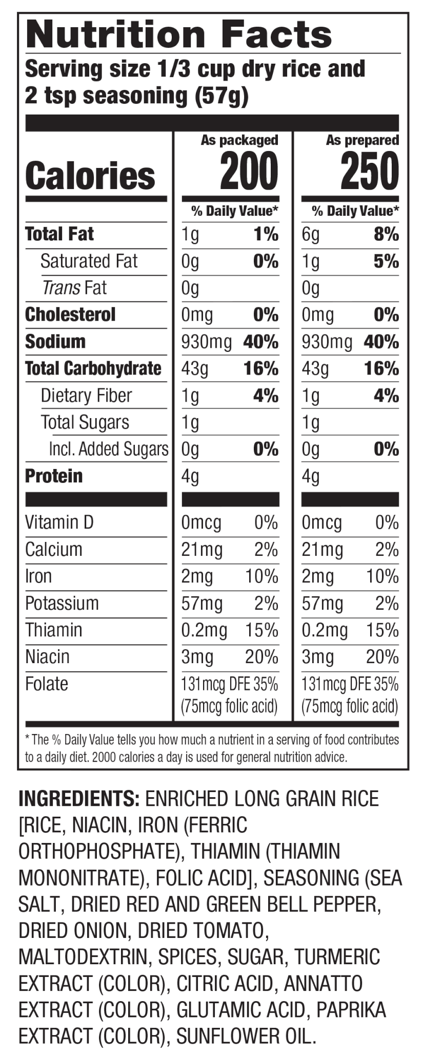 Nutrition Facts Arroz a la Española