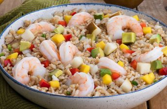 Sesame Orange Shrimp and Asian Brown Rice Salad