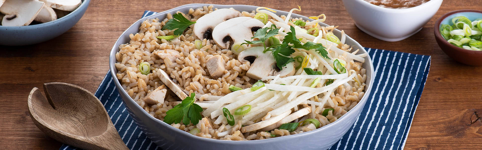Asian Chicken and Rice Salad with Spicy Peanut Sauce