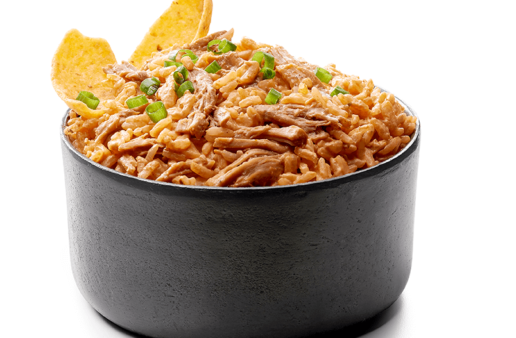 Barbecue Pulled Pork Rice Dip with Jasmine Rice and Tortilla Chips