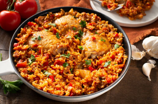 Bacon Kimchi Paella with Parboiled Rice, stewed tomatoes and chicken thighs