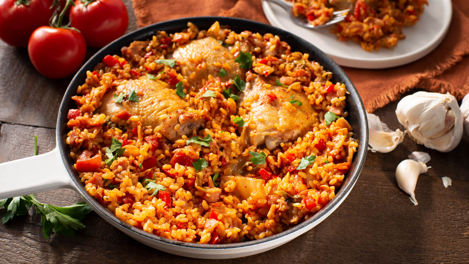 Bacon and Kimchi Paella with Chicken