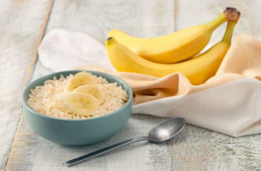 Breakfast bowl with basmati rice and bananas