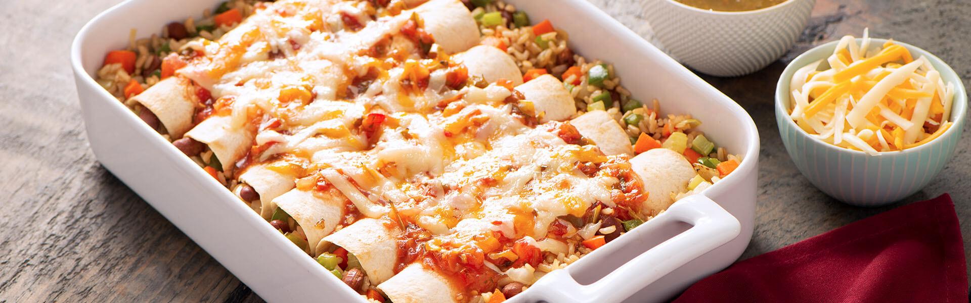 Enchiladas vegetarianas con arroz integral