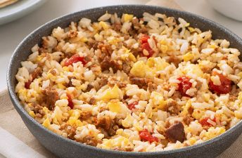 Chorizo and Rice Breakfast Scramble