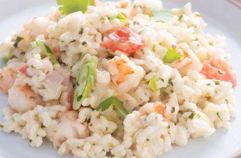 Cilantro Cream Risotto with Shrimp