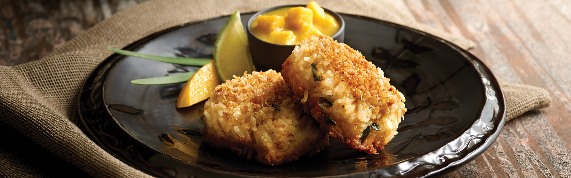 Basmati Rice Crab Cakes with Curried Mango Sauce