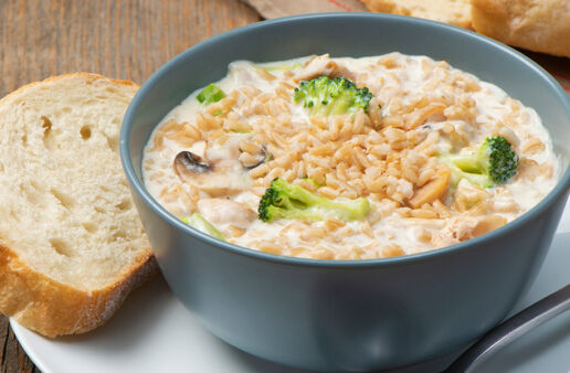 Creamy Chicken & Brown Rice Soup with Broccoli