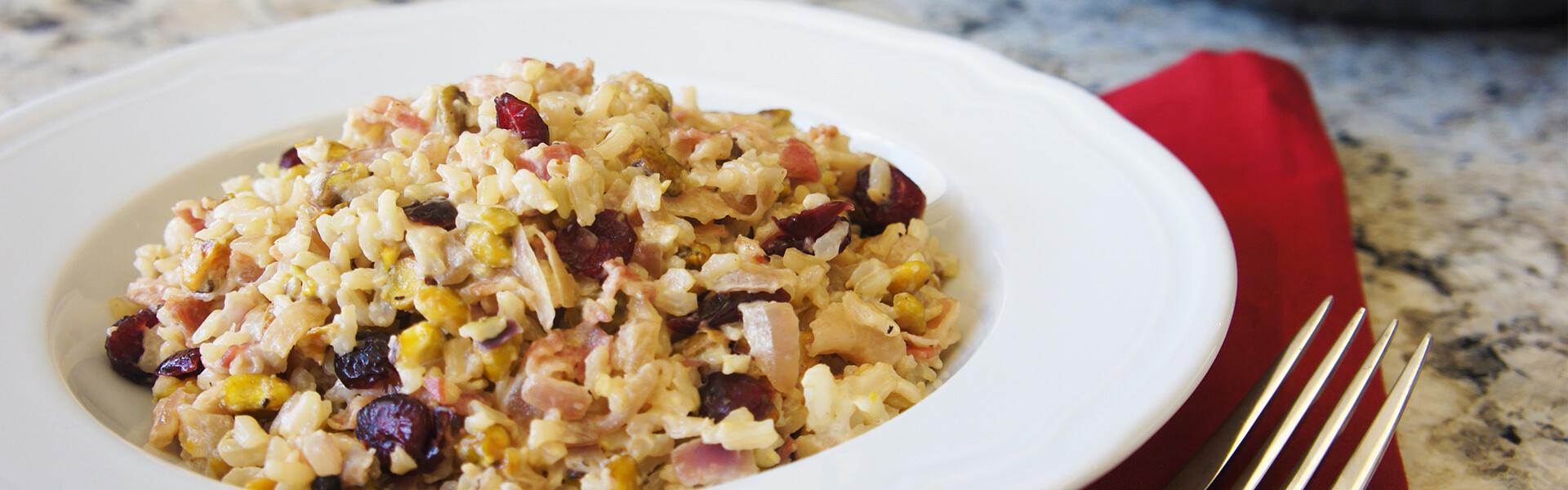 Pistachio, Cream and Pancetta Brown Rice