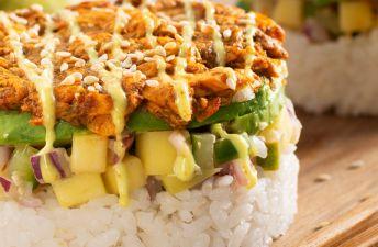 Curry Salmon Sushi Stacks