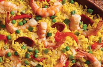 Easy Paella with Yellow Rice, Shrimp and Sausage
