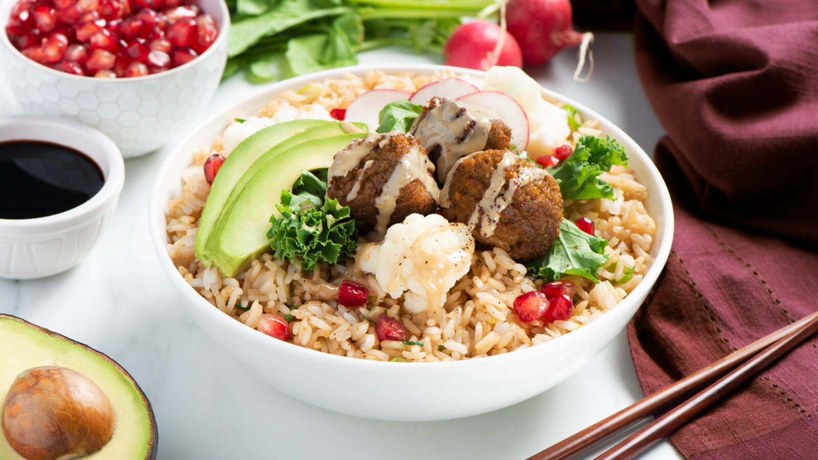 Fried Rice Bowl with Falafel & Tahini