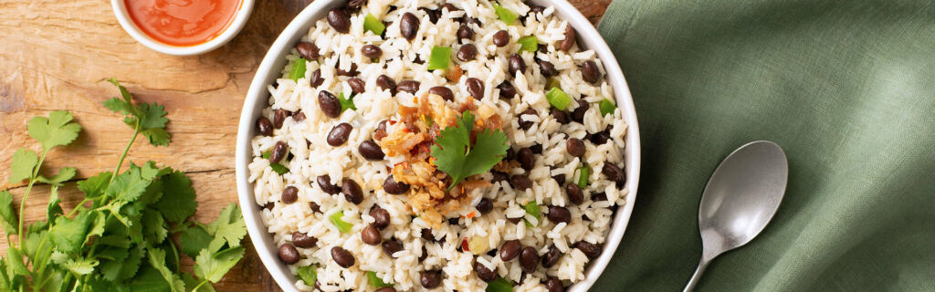 Costa Rican Gallo Pinto with White Rice and Black Beans