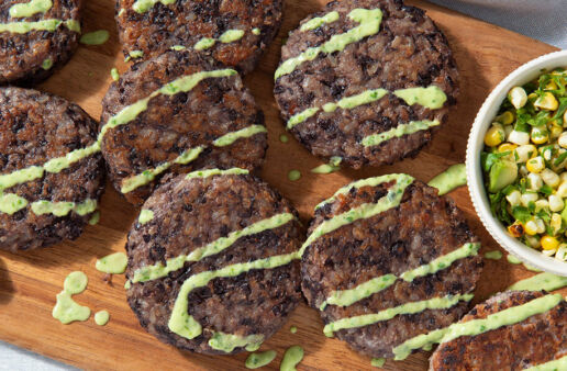 Black bean and brown rice cakes with avocado salsa