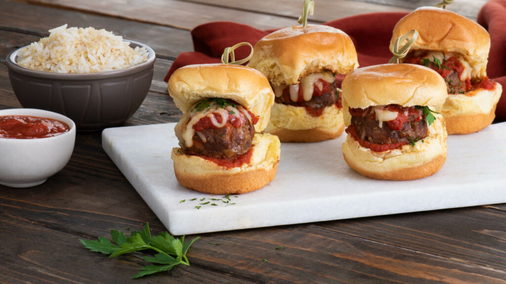 Jasmine Rice & Quinoa Meatball Sliders