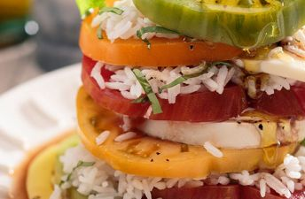 Layered Caprese Rice Salad