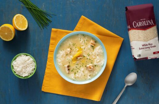 Lemon Velvet Chicken and Rice Soup with White Rice