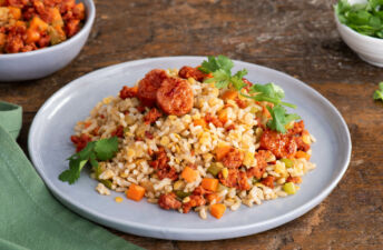 Lentils Brown Rice, Chorizo, Carrots and Fresh Cilantro