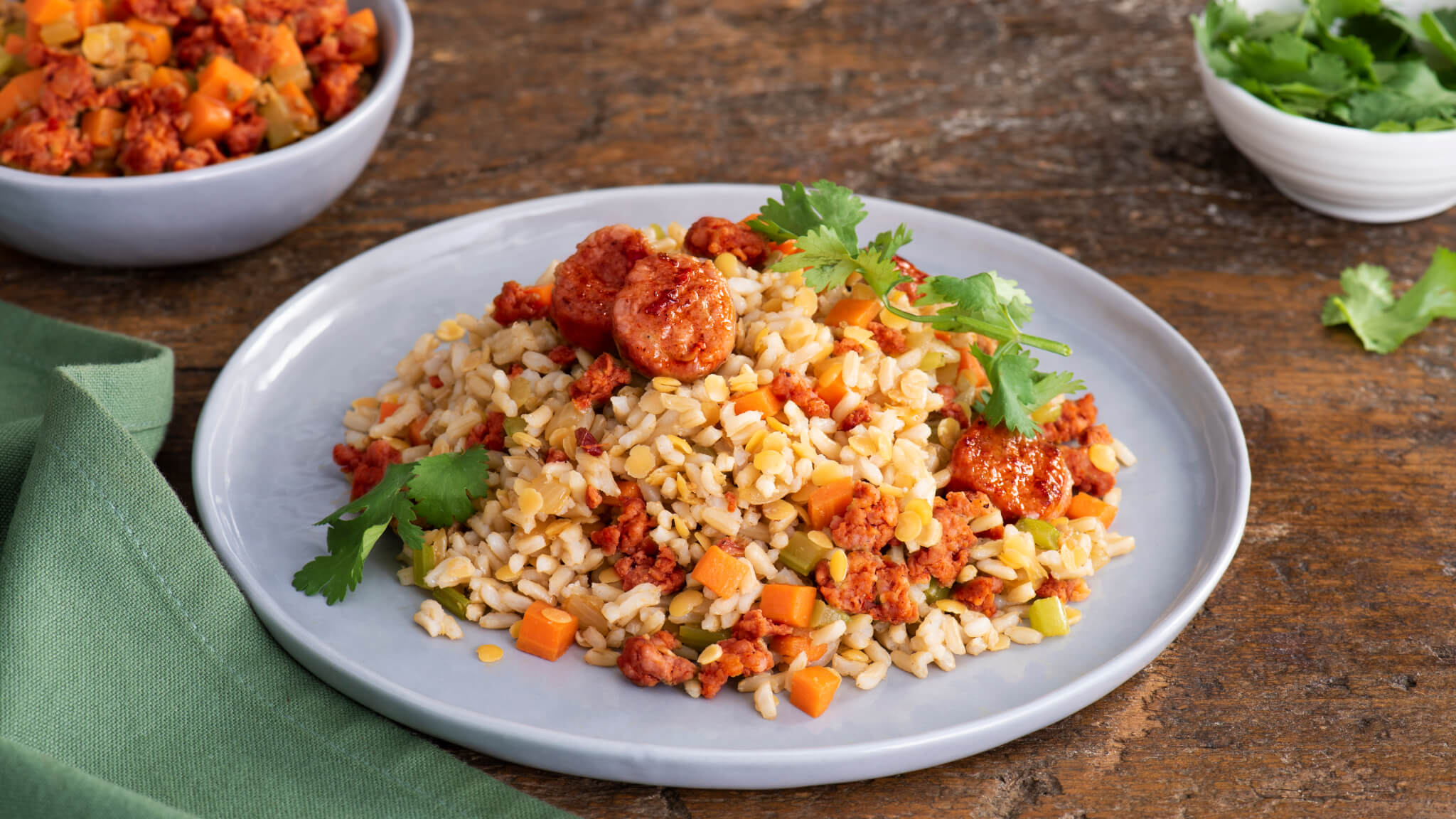 Chorizo and Lentils Brown Rice