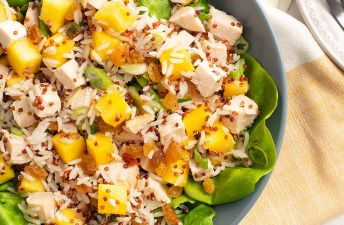 Mango Chicken Rice Salad with lettuce