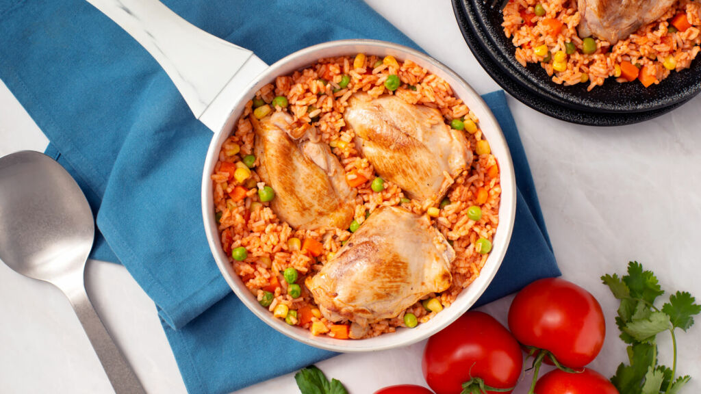 Mexican Style Arroz con Pollo with White Rice and Chicken Breast