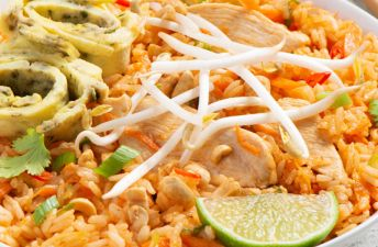 Pad Thai Fried Rice with Japanese Omelet and chicken