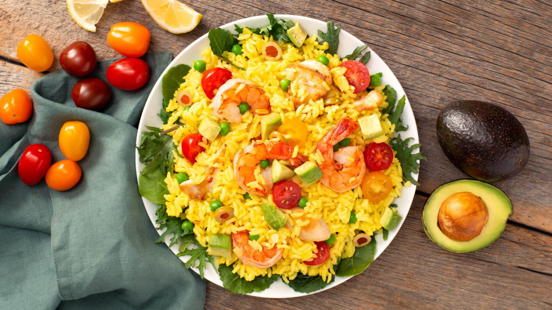 Paella Salad With Shrimp And Chicken Carolina Rice