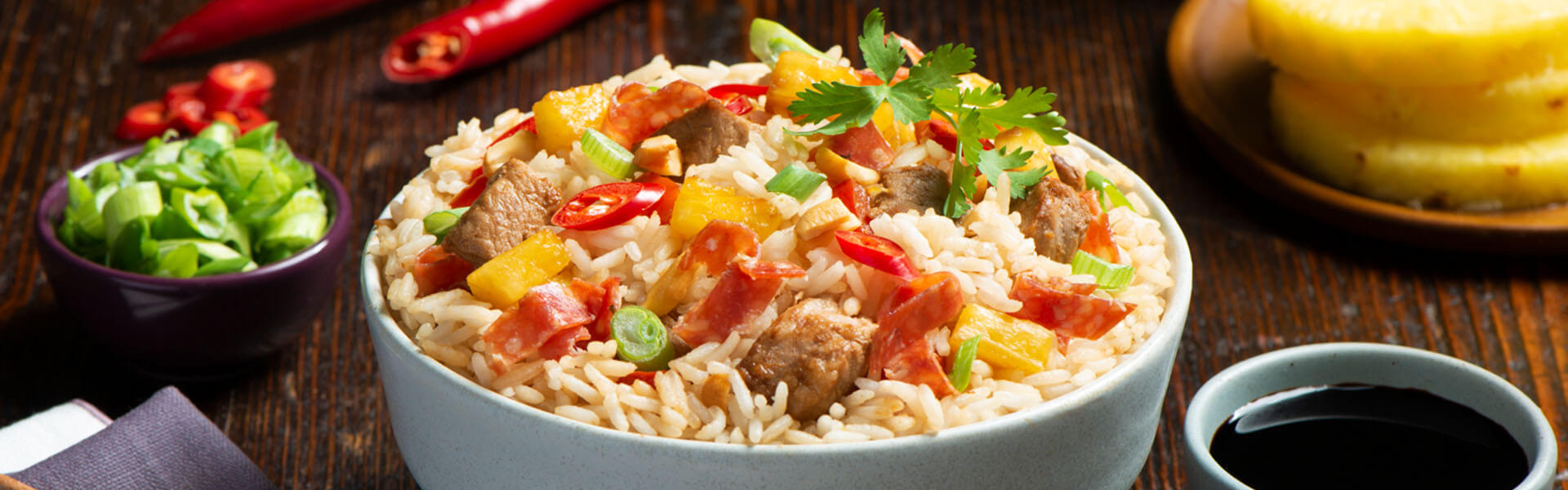 Pineapple, Pork and Salami Fried Rice