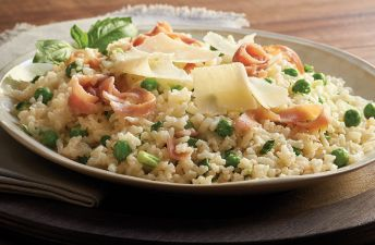 Prosciutto and Green Pea Risotto plate