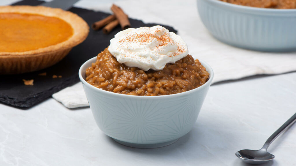 Pumpkin Spice Latte Rice Pudding with Cinnamon and Whipped Cream