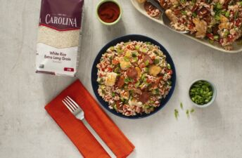 Spicy-Cajun-Jambalaya-with-white-rice-sausage-and-chicken