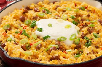 Rice Migas with beans and eggs