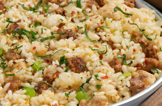 Creamy Risotto with Sausage and Cauliflower