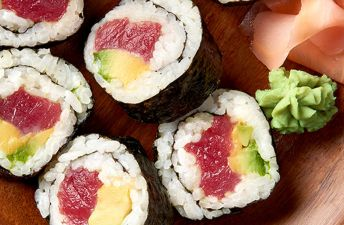 Sushi from Authentic Grains with avocado and tuna