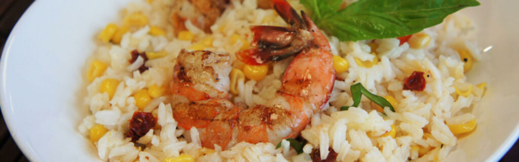 Grilled Shrimp & Rice Bowls with corn