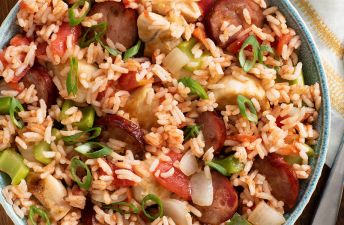 Spicy Cajun Jambalaya with sausage and chicken