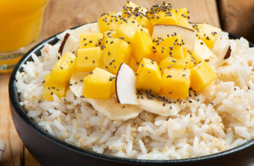 Tropical Jasmine Rice with Quinoa Breakfast Bowls