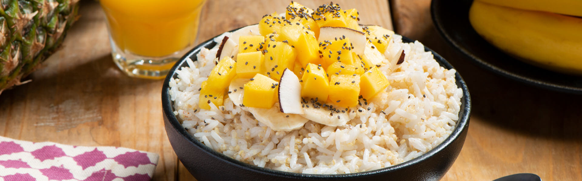 Jasmine Rice & Quinoa Breakfast Bowls with Tropical Fruit