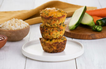 Vegetarian jasmine rice and quinoa cakes with zucchini, carrots, jalapeños and cheddar cheese