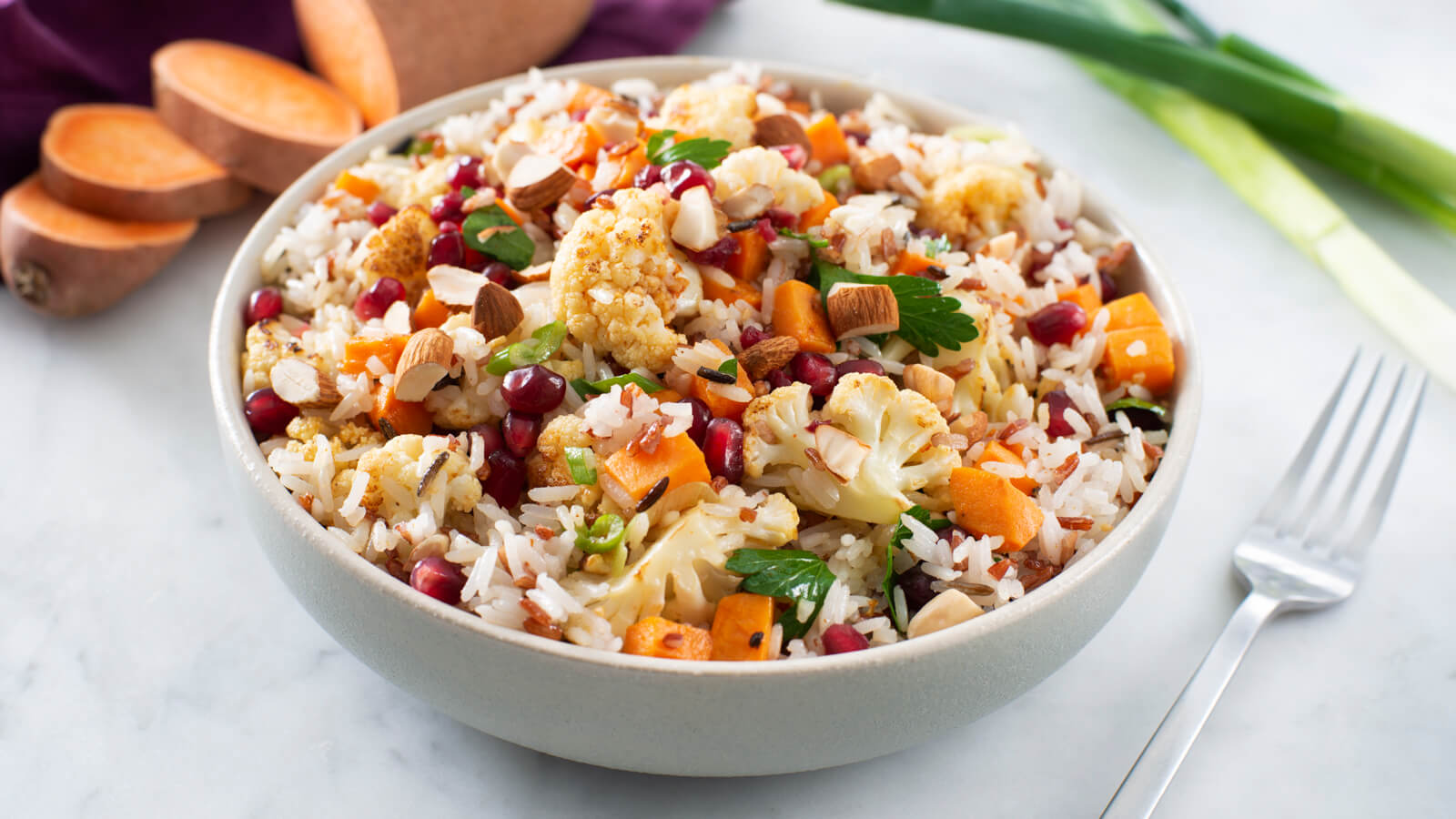 Middle Eastern Wild Rice Salad with Roasted Sweet Potato and Cauliflower