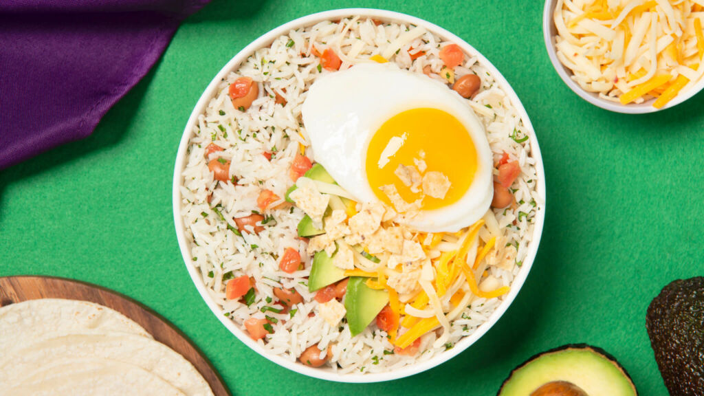 White Rice Bowl with Huevos Rancheros, diced Tomatoes, Avocados and Jasmine Rice