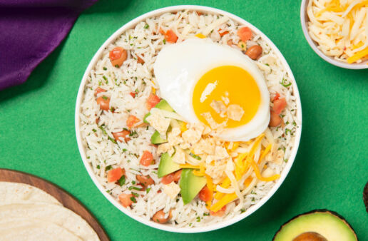 White Rice Bowl with Huevos Rancheros, diced Tomatoes, Avocados and Jasmine Rice